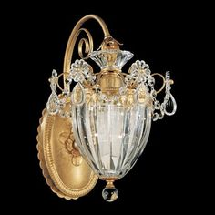 Bagatelle 1 Light Wall Sconce in Etruscan Gold with Clear Heritage Crystal by Schonbek – – Farrey's Lighting & Bath Crystal Ceiling Light, Crystal Wall, Ceiling Lights, Clear Crystal, Hallway Lighting, Wall Sconce Lighting, Wall Sconces, Antique Chandelier, Chandelier Lamp