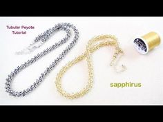 金属みたいなビーズネックレスの作り方 Odd count tubular peyote with bugle beads.How to make a necklace. - YouTube