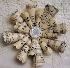 Vintage Sheet Music Ornament - rolled music paper (with scalloped edges) glued to a cardboard backing with a vintage button or bead attached to the center - via Sleepy in Seattle: Sheet Music Ornaments Paper Ornaments, Diy Christmas Ornaments, How To Make Ornaments, Christmas Projects, Handmade Christmas, Holiday Crafts, Vintage Christmas, Christmas Holidays, Christmas Ideas