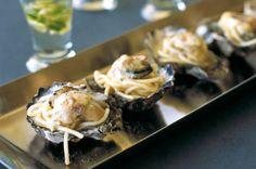 Ostras carbonara (con bacon, pasta y queso)
