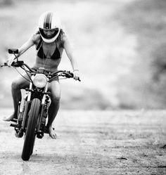 Riding a bike in a bikini. #Style #Fearless #Fun