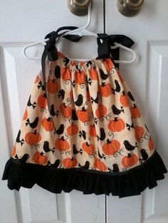 Pumpkins and black birds pillowcase dress with black ruffle, size 12M, ready to ship on Etsy, $28.00