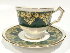 Aynsley Tea Cup and Saucer, Gold Green Cups, Tea Set, Antique Teacups, Tea Cups and Saucers, Bone China Cups, Tea Party, Cottage Chic by AprilsLuxuries on Etsy
