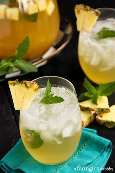 Pineapple Mint Julep Sangria - afarmgirlsdabbles.com #mintjulep #pineapple #sangria #bourbon