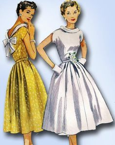 1950s Simple to Make Party Dress Pattern 1953 Simplicity Sewing Pattern Sz 30 B