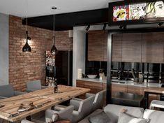 Drewniany stół z szarymi krzesłami w aranżacji jadalni Home Decor Kitchen, Kitchen Interior, Home Interior Design, Home Kitchens, Interior Architecture, Industrial Kitchen Design, Industrial House, Minimal House Design, Pinterest Home
