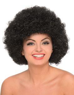 Afro Perücke - Damen: Diese Afro Perücke für Damen besitzt schwarze Synthetik Haare, die wie einen Helm auf Ihrem Kopf sitzen.Perfekt für eine Afro-Disco Party.