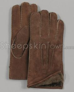 Brown Shearling Sheepskin Suede Men's Gloves