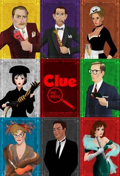 Clue Movie Poster by chrisables Clue Movie, I Movie, Movie Costumes, Character Costumes, Clue Costume, Costume Ideas, Detective, Clue Party, Spy Party