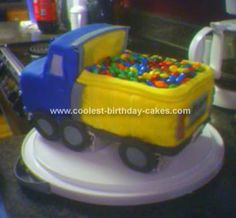 Homemade Dump Truck Birthday Cake: This Dump Truck Birthday Cake was made for a friend's three year old son's third birthday party.  I got the idea from a Wilton Cake Decorating book.  Before