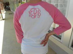 Three quarter Sleeve Raglan Tee Monogram on BACK Font Shown INTERLOCKING in Bubble Gum Pink