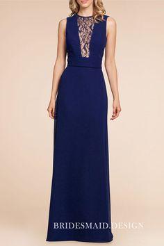 69c831d46ce70 Amazing twilight blue chiffon long bridesmaid dress with illusion lace  plunging bodice. Sleeveless jewel neckline