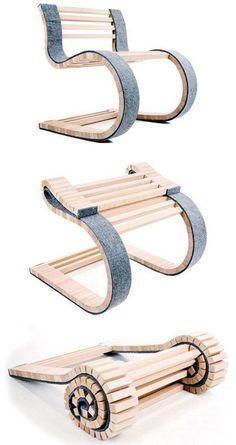 Une chaise en bois qui s'enroule pour faciliter le rangement et le transport #avecdubois #furnituredesign
