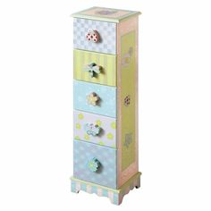 The Fantasy Fields Crackled Rose 5 Drawer Cabinet is a fun storage solution for your child's small knick-knacks and toys, from art supplies to puzzles. and , this small dresser is decorated in a multitude of patterns, each drawer sporting a unique, Nursery Furniture, Accent Furniture, Kids Furniture, Preschool Furniture, Painted Furniture, Small Dresser, Wood Dresser, Kids Storage, Storage Spaces