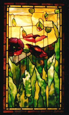 This is a beautiful stained glass window capturing a field of poppies. Stained Glass Flowers, Stained Glass Designs, Stained Glass Panels, Stained Glass Projects, Stained Glass Patterns, Leaded Glass, Stained Glass Art, Beveled Glass, Tiffany Stained Glass