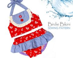 Baby bikini  Etsy listing at https://www.etsy.com/listing/225356246/baby-swimsuit-sewing-pattern-pdf-romper