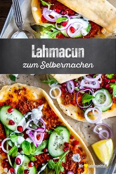 At many kebab stands, Lahmacun is just as much a standard dish as . - At many kebab stands, Lahmacun is just as much a standard dish as meat from the spit. Simply bake t - Paleo Pizza, Pizza Recipes, Paleo Recipes, Sandwich Vegan, Easy To Digest Foods, Smoked Beef Brisket, Paleo Meal Plan, Sandwiches For Lunch, Kebabs