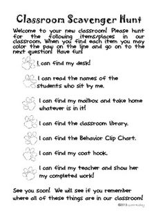 Meet the Teacher Classroom Scavenger Hunt