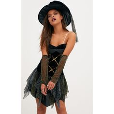 Sexy Witch Fancy Dress Costume ($26) ❤ liked on Polyvore featuring costumes, black, sexy halloween costumes, fancy costumes, sexy witch halloween costume, sexy costumes and witch costume