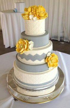 white grey and yellow - Wedding Cake -  Ettore's European Bakery & Restaurant