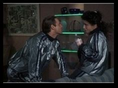 """Todd and Margo in their hilariously gaudy his-and-hers jogging suits in """"National Lampoon's Christmas Vacation. Christmas Vacation Costumes, Griswold Christmas Vacation, Christmas Party Themes, Christmas Ideas, Christmas Traditions, Christmas Holiday, Holiday Parties, Holiday Crafts, Holiday Ideas"""