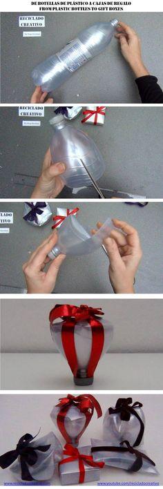 Cómo realizar una caja de regalo con forma de copa, reciclando una botella de plástico plateada https://www.youtube.com/watch?v=Jm9Ipys6WD8