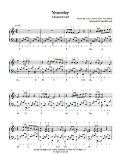 Yesterday by The Beatles Piano Sheet Music | Advanced Level