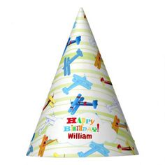 #Vintage Airplane Airshow Aviator Airforce Birthday Party Hat - #birthday #gifts #giftideas #present #party