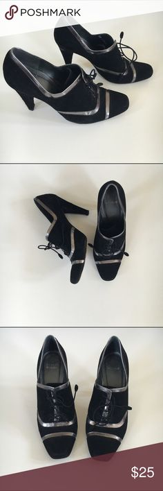Stuart Weiztman Oxford Heels Black Oxford heels with a metallic trim. Lace up front cool rounded rectangular alglet's on the laces. They do have signs of wear & a few small spots of missing fabric on the heel area. The shoe is made of a thin velvety type of fabric. Please msg if you have additional questions. Stuart Weitzman Shoes Heels