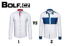 Bílá košile nemusí být nudná. Vsaďte na bílou košili s červeným propracováním (1) a s límečkem button down nebo bílou košili s modrým propracováním (2), módním prošitím a italským límcem. Kterou si vyberete?