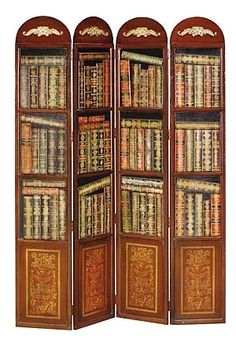 TROMPE L'OEIL BOOKSHELF ROOM DIVIDER.  four folding panels and book print.  $585.00  ... I have no need for a room divider (nor would I ever pay this much!), but, boy, do I want this one!  -pfb