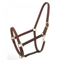 Brown Genuine Leather Horse Size Narrow Track Halter Brass Hardware NEW Tack  | eBay