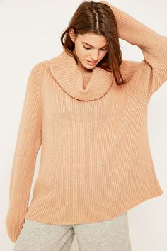 Light Before Dark Chunky Ribbed Turtleneck Jumper