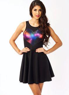 heart galaxy skater dress.