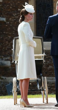 Catherine, Duchess of Cambridge  at the Church of St Mary Magdalene on the Sandringham Estate for the Christening of Princess Charlotte of Cambridge on July 5, 2015 in King's Lynn, England.