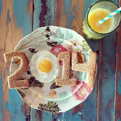 good morning 2014!  This would be a cute idea for a birthday breakfast party, using the birth year. Could also use a heart shape egg shaper and an I & U shaped toast for 'I <3 U""