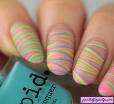 Painted Fingertips | Water Marble Wednesday - pastel neon marble using the Vapid Candy Shop Collection
