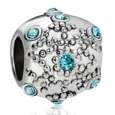 Pugster Aquamarine Crystal Snowflake Euro Beads Gift Fit Pandora Chamilia Biagi Charm Bracelet