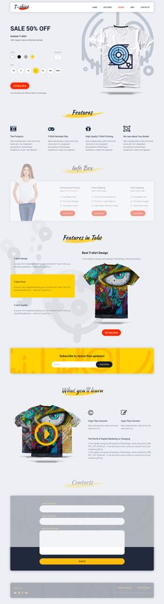 T-shirt is 100% Responsive Landing Page. 1. 1 Template (More coming soon) 1. Content Blocks 2. Organized coding 3. Easy to customize 4. Modern & Clean Design 5. Google Fonts 6. 600+ Font Awesome Icons 7. HTML5 / CSS3 (Flexbox) 8. LESS file included 9. W3C Valid HTML