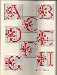 Rose Spray Monogram charts ~ 1 of 3 Monogram Cross Stitch, Cross Stitch Alphabet Patterns, Embroidery Alphabet, Embroidery Monogram, Cross Stitch Charts, Cross Stitch Designs, Cross Stitching, Cross Stitch Embroidery, Monogram Alphabet