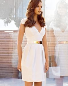 Classic white dress with gold belt ...