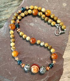 Amber and Jasper Necklace Handmade Bohemian by TheHippieBohemian, $45.00