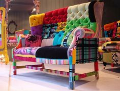 Patchwork Sofa By Squint Bohemian Furniture, Funky Furniture, Colorful Furniture, Painted Furniture, Furniture Design, Colorful Couch, Mismatched Furniture, Sofa Design, Patchwork Sofa