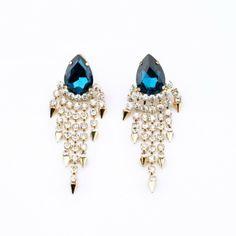 New 2014 Jewelry Fashion Crystal Hot-selling Women Dress Earring of Gold Plated Shourouk Stud  Tassel Earrings $9.18