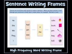 Sentence Writing - High Frequency Word Writing Frame Sentence Writing, Writing Words, 2nd Grade Reading, Guided Reading, Sentence Construction, English Resources, Vocabulary Games, High Frequency Words, Bilingual Education