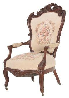 Victorian Walnut Needlepoint Chair