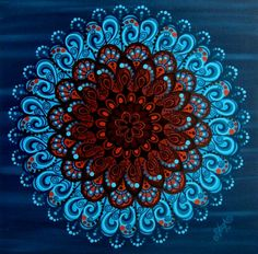 Mandala Cacau. (Série Mandalas Tropicais #2) Acrílico sobre tela - 70x70 cm. ©Taís Britto  Cocoa Mandala. (Tropical Mandalas Series #2) Acrylic on Canvas - 28x28 inches.