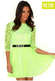 Neon Lace Skater Dress