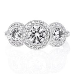 Platinum Three Stone Halo Bezel Set Diamond Engagement Ring by Ritani