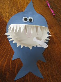 Our craft today, started with D (age 8), fringing the edge of a folded paper plate, in triangles.    Then folding them down, to make a shark...